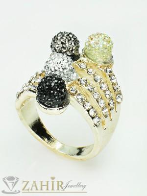 Разноцветен пръстен с топки шамбала, бели кристали и златно покритие - P1342
