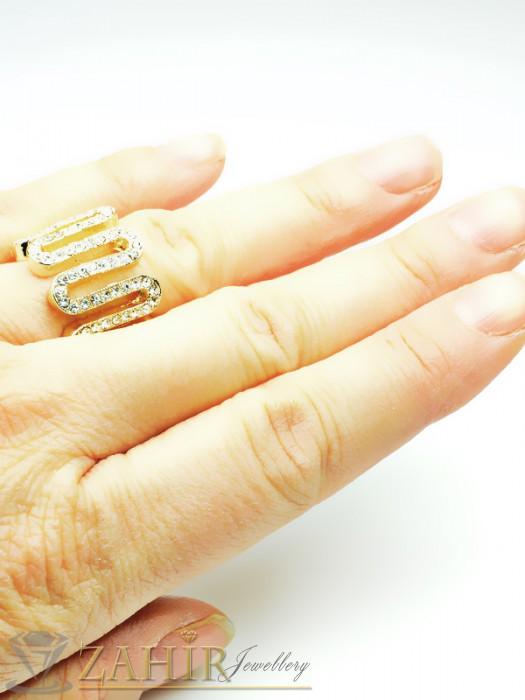 Дамски бижута - Изящна изработка пръстен с бели кристали и златно покритие - P1351